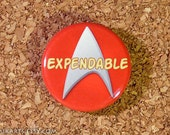 Expendable Red Shirt Star Trek Officer Pin-back Button