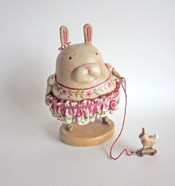 RESERVED  FOR STACEY                      Folk Art Vintage Style Bunny Girl Rabbit