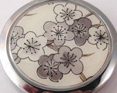 Grey Plum Blossoms.  Compact Mirror