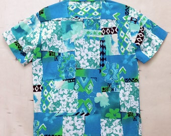 1970's XL Homemade Hawaiian TIKI shirt