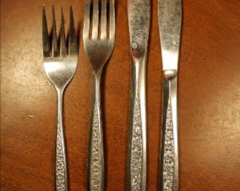Vintage Flatware -  Customcraft Stainless (CUS5) with Embossed Floral Pattern BIN 1
