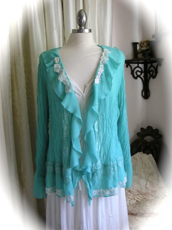 Chiffon Boho Blouse, long sleeves, ruffled front, crinkled fabric,  lace trim embellished, 1X Plus Size XL X LARGE