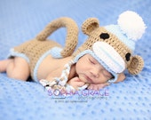 Having a sale Boy sock monkey hat and diaper cover set