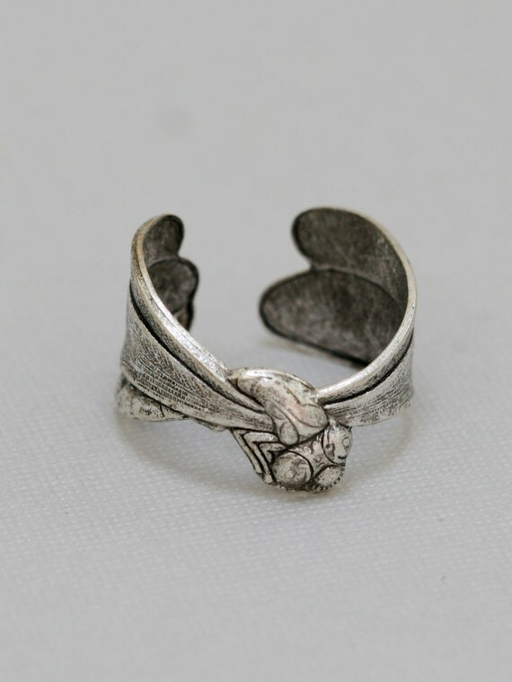 Steampunk Dragonfly Ring, Silver Ring, Adjustable Metal Band, Vintage Inspired Ring