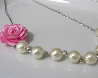 Pink flower necklace with pearls - Pearl necklace - Bridal necklace - Bridesmaid necklace