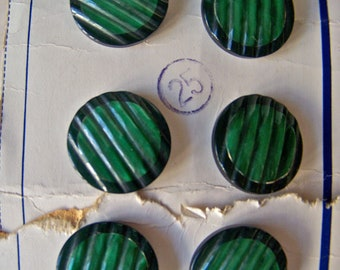 Vintage Green Glass Buttons La Mode Set of 6 Chunky Forest Green Buttons Sewing Room Button Card Buttons On Card Vintage 1930s