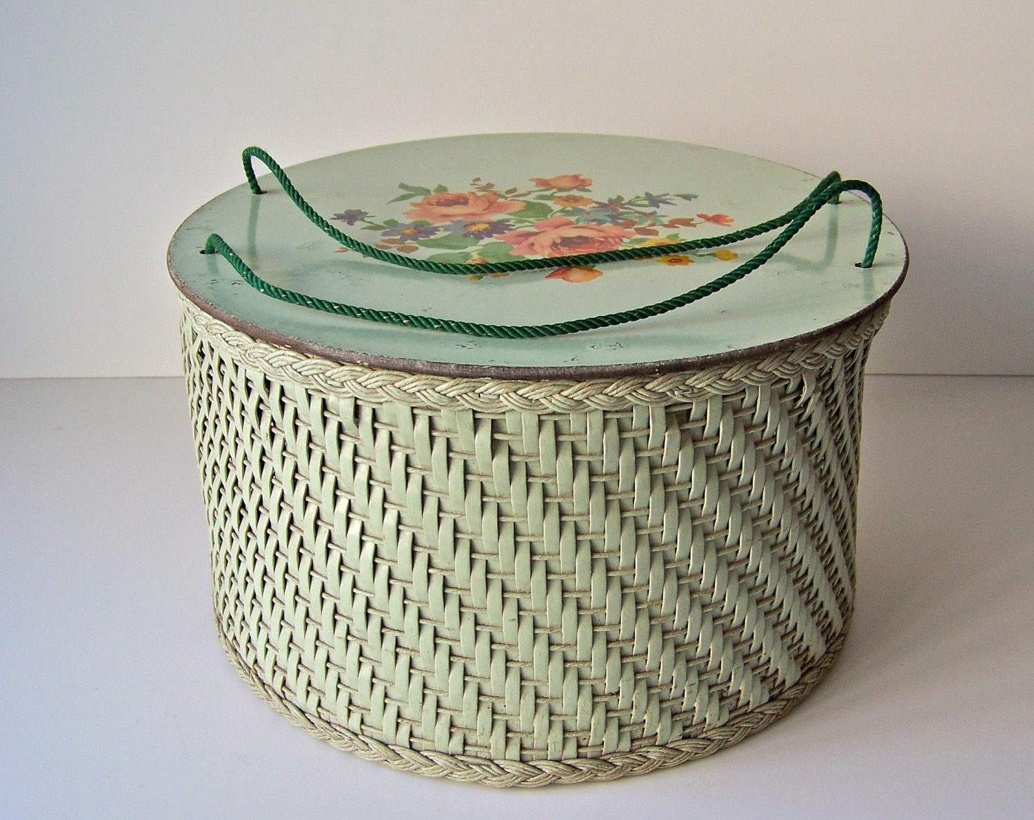 Vintage Wicker Sewing Basket 53