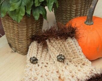 Cream Brown Fur Fingerless Gloves