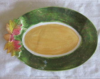Ceramic fall leaf serving bowl, Thanksgiving, serving dish