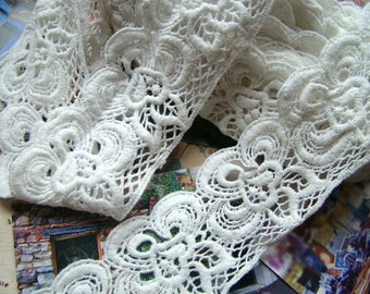 Cotton Embroidered Lace Trim -2 Yards Ivory Big Flower Lace Trim(L423)
