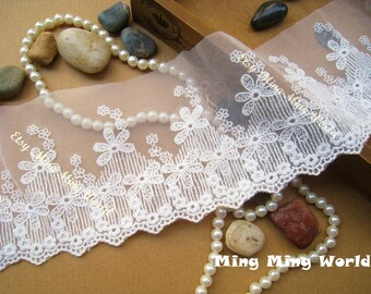 Cotton Net Embroidered Lace Trim -2 Yards Ivory Flower Flower Embroidery Lace(L400)