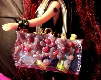 The fashion trendy beach plastic tote bag for blythe and all kind of dolls