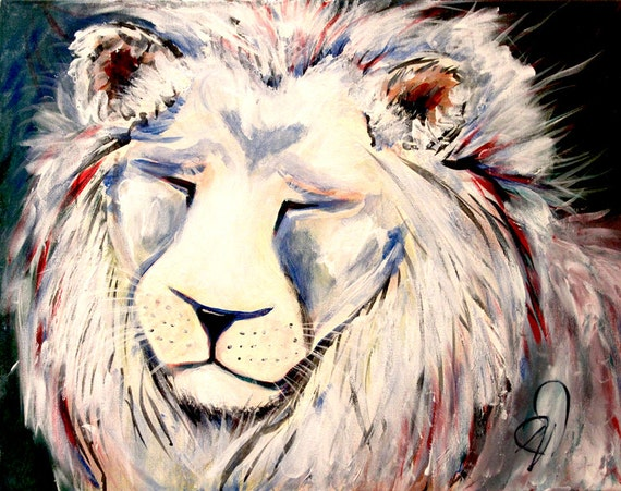 RESERVED LISTING for Shannon Dednah Impressionism Original Wildlife Painting Mixed Media Painting Lion Big Cat Art
