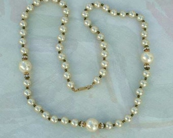 Signed Dauplaise Heavy Glass Pearl Necklace with Rhinestones 1960s Vintage Jewelry
