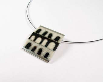 Sterling Silver Pendant - Black and White Windows - OOAK