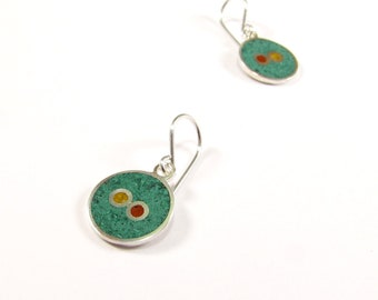 Sterling Silver Earrings, Color, Circles, Dangle, Green, Mustard, Maroon, Modern, Contemporary
