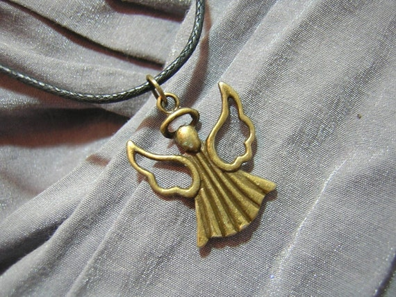 Bronze Angel on Black Cord Simple Charm Necklace - Handmade by Rewondered D225N-00792 - $7.95
