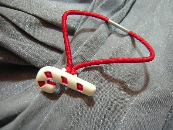 Candy Cane Hair Elastic Ponytail Holder - Handmade by Rewondered D202E-00010 - $3.95