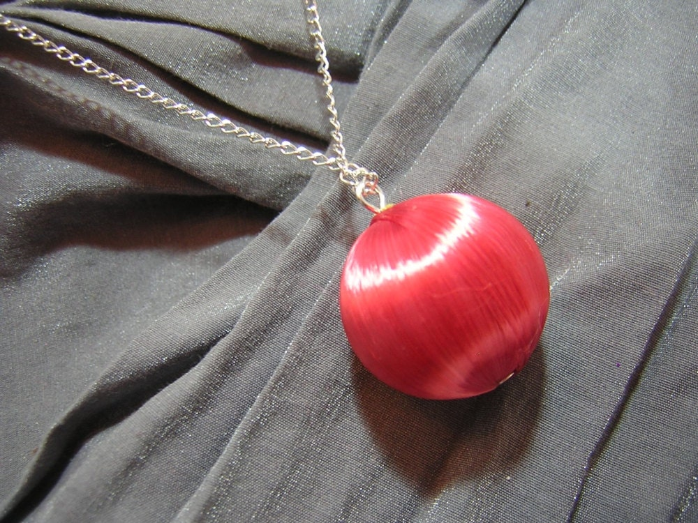 Red Christmas Ornament Necklace - Handmade by Rewondered D225N-24243 - $7.95