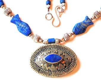 Lapis Lazuli Necklace with Vintage Sterling Silver Pendant from Afghanistan by the Old Silk Route-Free Shipping