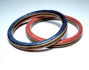 skateboard bangle- stonewashed red white and blue- medium