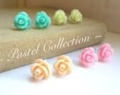 SALE - Pastels - Four Pairs of Rose Stud Earrings