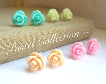 SALE - Pastels - Four Pairs of Rose Stud Earrings