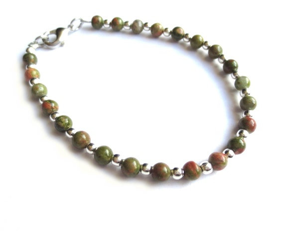 Unakite Gemstone Beaded Bracelet with Silver Colored Spacer Beads