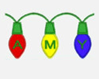 Christmas Lights Alphabet A-Z...Embroidery Applique Design...Two sizes for multiple hoops...Item1316....INSTANT DOWNLOAD