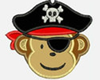 Pirate Monkey...Embroidery Applique Design...Three sizes for multiple hoops...Item1522...INSTANT DOWNLOAD