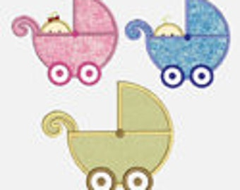 Baby Strollers 3 designs..Embroidery Applique Design...Three sizes of each for multiple hoops...Item1157...INSTANT DOWNLOAD