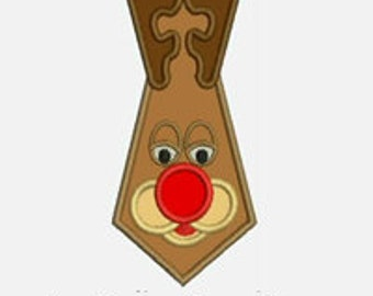 Rudolph Tie...Embroidery Applique Design...Three sizes for multiple hoops...Item1429...INSTANT DOWNLOAD