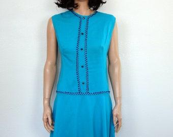60s Vintage MOD Blue Rayon Drop Waist Dress L