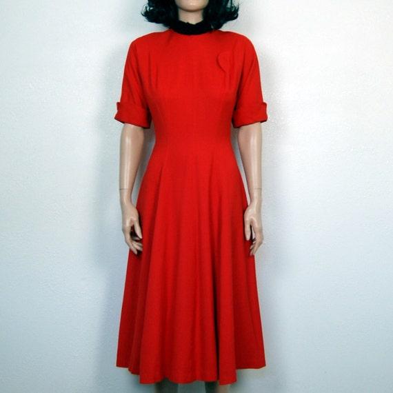 40s-50s Vintage Gabardine Red Dress S - M