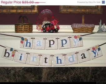 Vintage Style Double Banner Sign Garland Happy  Birthday for Boy Girl Family Adult and Child ECS