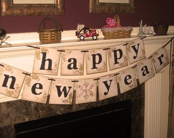 Vintage Extra Large Happy New Year Double Garland Banner Sign by Vintage Paris Market