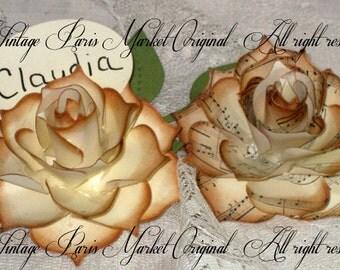 Hand Sculpted 3D Marie Antoinette Rose Escort  Card French Elegant Wedding ESC