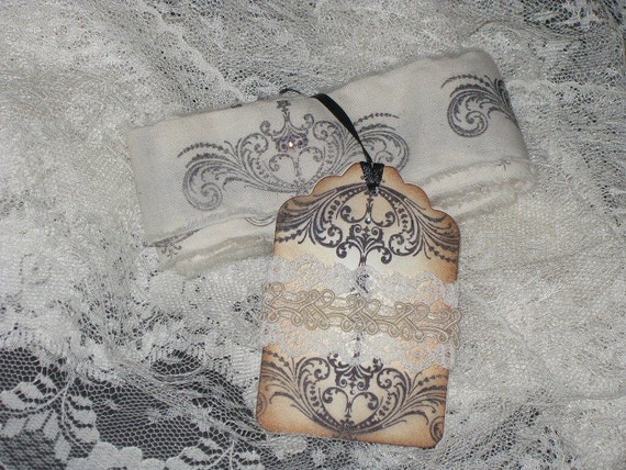 Vintage Hand Stamped Muslin Ribbon Adorned with Crystal Rhinestone Embellishments with Vintage Lace Trimmed Matching Gift Tag.