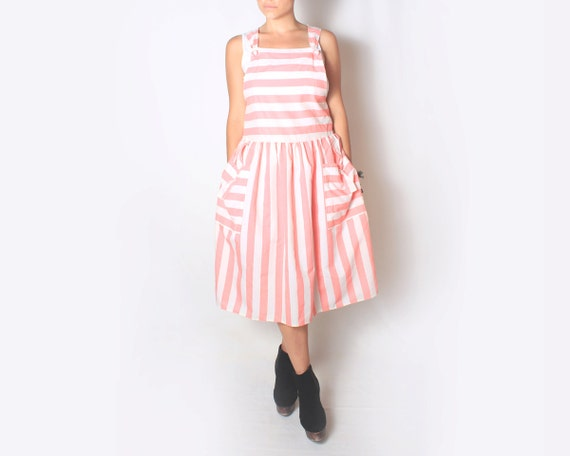 SALE Maxi Dress Jumper with Pink and White Stripes - Small to Medium - sm med