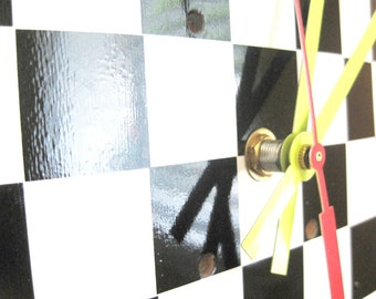 Black and White Checkered Board Maple Skateboard Clock --READY TO SHIP--