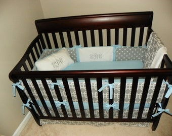 CLEARANCE!!!!!! Grey and Blue Geometric Crib Bedding Set