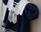 1970's Vintage Empire Waiste Navy Blue Summer Girl's Dress with White Sailor Collar Nautical