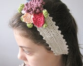 Romantic crocheted headband - MADE TO ORDER- crocheted flowers - photo prop - Bloom Collection 2012