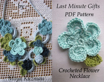 Crocheted Necklace PDF Pattern - Crocheted Necklace Tutorial - Last Minute Gifts Series - Instant download