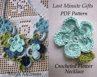 CROCHET PATTERN Flower Necklace, crochet necklace,PDF Pattern - Crocheted Necklace Tutorial - Last Minute Gifts Series - Instant download