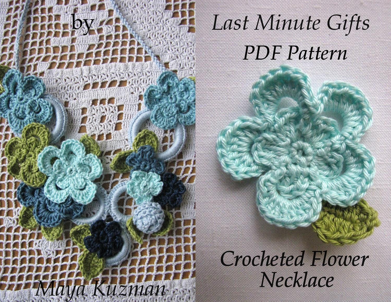 Crochet Scarf Jewelry Free Pattern : CROCHET PATTERN Flower Necklace crochet necklacePDF Pattern