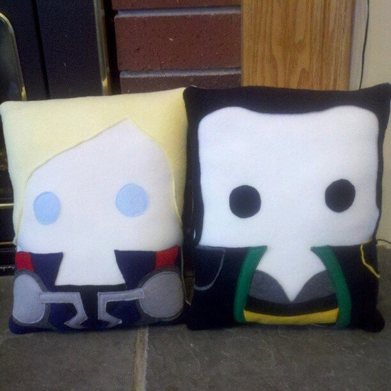 The Avengers inspired plush pillow,  Thor, Loki, Throw pillow