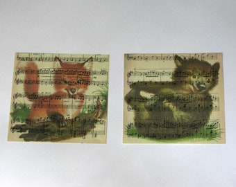 Baby Animal Print Set on Vintage Music