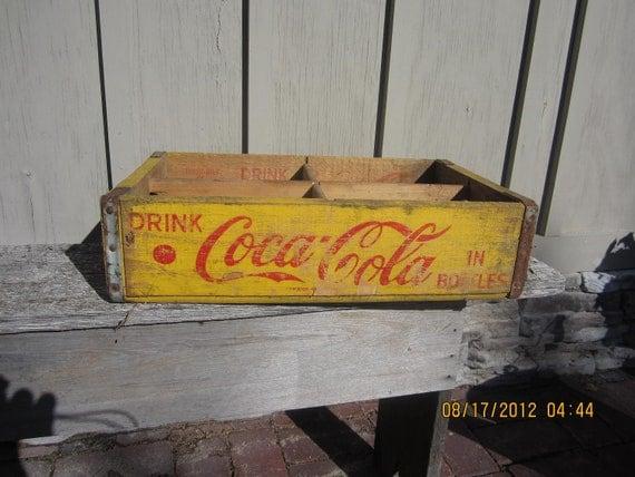 Vintage  wood Coke Coca Cola Crate Box Yellow