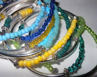Set of 5 Silver & Czech Glass Bangles by ChoklatTea